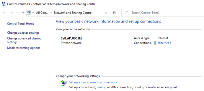 Network and Sharing Centre